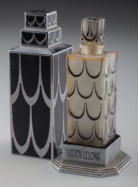 An R. Lalique Glass with Black Enamel Lucien Lelong Skyscraper Perfume With Case, ci