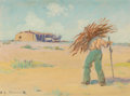 Fine Art - Painting, American:Modern  (1900 1949)  , Elmer Boone (American, 1881-1952). Hauling Firewood. Oil onpanel. 5-1/2 x 7 inches (14.0 x 17.8 cm). Signed lower left:...