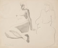 Fine Art - Work on Paper:Drawing, Milton Avery (American, 1885-1965). Sulky Nude. Pencil andink on paper. 13-3/4 x 16-3/4 inches (34.9 x 42.5 cm) (sheet)...