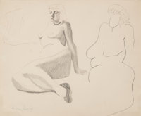 Milton Avery (American, 1885-1965) Sulky Nude Pencil and ink on paper 13-3/4 x 16-3/4 inches (34