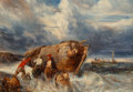Fine Art - Painting, European:Antique  (Pre 1900), Eugène Isabey (French, 1803-1886). Casting Off in StormySeas. Oil on canvas. 18 x 25 inches (45.7 x 63.5 cm). Signedlo...