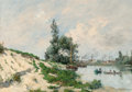 Paintings, Paul Emmanuel Peraire (French, 1829-1893). Along the Seine. Oil on canvas. 17 x 24 inches (43.2 x 61.0 cm). Signed lower...