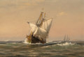 Fine Art - Painting, American:Antique  (Pre 1900), William Edward Norton (American, 1843-1916). Ship at Sea,1877. Oil on canvas. 8-1/8 x 12 inches (20.6 x 30.5 cm). Signe...