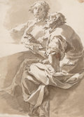 Fine Art - Work on Paper:Drawing, Circle of Giovanni Battista Tiepolo . The Disputation. Inkand grey wash on laid paper. 9 x 6-1/2 inches (22.9 x 16.5 cm...