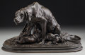 Sculpture, After Pierre Jules Mene (French). Hound with Pups. Bronze with brown patina. 8-1/2 inches (21.6 cm) high. Inscribed on b...