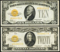 Small Size:Gold Certificates, $10 and $20 1928 Gold Certificates Very Fine.. ... (Total: 2 notes)