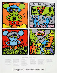 Keith Haring Andy Mouse Quadtych Signed Print (George Mulder, 1986)