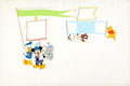 Animation Art:Production Drawing, Disney Magazine #3 Painted Double Page Spread Mickey Mouse,Donald Duck, and Goofy Original Art (Walt Disney, 1975)....