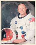 Autographs:Celebrities, Neil Armstrong Signed White Spacesuit Color Photo, Uninscribed,with Steve Zarelli LOA....