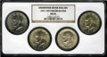 Eisenhower Dollars: , EISENHOWER SIlver Dollar Set from 1971-1974 MS66 NGC Housed in a single NGC holder. NGC Census: (15/0). PCGS Population (34/... (Total: 4 coins)
