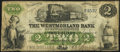 Canadian Currency: , Moncton, NB- Westmorland Bank of New Brunswick $2 Aug. 1, 1861Remainder Ch. # 800-12-04R. ...