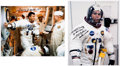 Autographs:Celebrities, Fred Haise Signed Apollo 13 Spacesuit Color Photos (Two). ... (Total: 2 Items)