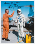 Autographs:Celebrities, Rusty Schweickart Signed White Spacesuit Color Photo. ...