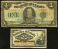 Canadian Currency: , 1900 and 1923 Dominion of Canada Notes.. ... (Total: 2 notes)