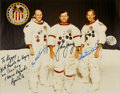 "Explorers:Space Exploration, Apollo 16 Crew-Signed White Spacesuit Color Photo Originally fromthe Personal Collection of Walter ""Kappy"" Kapryan, in Matted..."