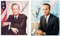 Scott Carpenter Early Business Suit Pose Signed NASA Color Photos (Two)