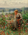 Fine Art - Painting, European:Other , Daniel Ridgway Knight (American, 1839-1924). Normandy girl sitting in a garden. Oil on canvas. 32 x 26 inches (81.3 x 66...