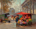 Paintings, Edouard-Léon Cortès (French, 1882-1969). Fleurs Marché - Madeline. Oil on canvas. 20 x 24-1/2 inches (50.8 x 62.2 cm). S...