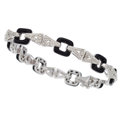 Estate Jewelry:Bracelets, Diamond, Black Onyx, White Gold Bracelet. ...
