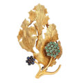 Estate Jewelry:Brooches - Pins, Sapphire, Green Beryl, Gold Brooch. ...
