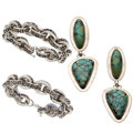 Estate Jewelry:Lots, Turquoise, Sterling Silver, Silver Jewelry. ... (Total: 4 Items)