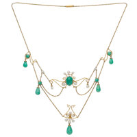 Amazonite, Freshwater Cultured Pearl, Gold Necklace