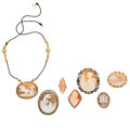 Estate Jewelry:Cameos, Shell Cameo, Coral Cameo, Diamond, Gold, Silver Vermeil, Yellow Metal Jewelry. ... (Total: 7 Items)