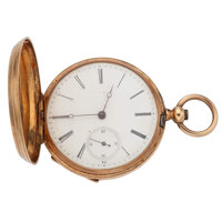 Swiss Key Wing 14k Gold Hunter Case Pocket Watch