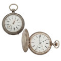 Timepieces:Pocket (post 1900), Swiss & Elgin Sterling Pocket Watches. ... (Total: 2 Items)