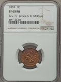 Proof Indian Cents, 1869 1C PR65 Red and Brown NGC....