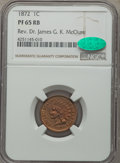 Proof Indian Cents, 1872 1C PR65 Red and Brown NGC. CAC....