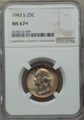Washington Quarters, 1943-S 25C MS67+ NGC. NGC Census: (152/1 and 2/0+). PCGS Population(55/1 and 4/0+). Mintage: 21,700,000. Numismedia Wsl. P...