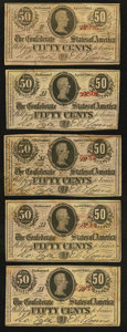 Confederate Notes:1863 Issues, T63 50 Cents 1863 (5) PF-7.. ... (Total: 5 notes)