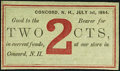 Obsoletes By State:New Hampshire, Concord, NH- Unknown Merchant 2¢ July 1, 1864. ...
