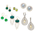 Estate Jewelry:Lots, Multi-Stone, Cultured Pearl, Glass, Gold, Sterling Silver Jewelry. ... (Total: 6 Items)