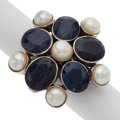 Estate Jewelry:Rings, Sapphire, Cultured Pearl, Sterling Silver Ring. ...