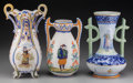 Ceramics & Porcelain, Continental:Modern  (1900 1949)  , Three Quimper Ceramic Vases, 20th century. Marks: HR QUIMPER; SAINT-NAZAIRE. 10-3/4 inches high (27.3 cm) (tallest)... (Total: 3 Items)
