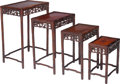 Furniture , A Set of Four Chinese Mahogany and Burlwood Nesting Tables, early 20th century. 28 h x 20 w x 14-1/2 d inches (71.1 x 50.8 x... (Total: 4 Items)