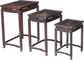 Asian:Chinese, Set of Three Chinese Hardwood and Lacquered Nesting Tables, late 19th century. 26 h x 19-1/2 w x 13-3/4 d inches (66.0 x 49.... (Total: 3 Items)