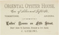 Miscellaneous:Ephemera, Tombstone, Arizona: Rare Oriental Oyster House Business Card....