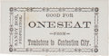 Miscellaneous:Ephemera, Tombstone, Arizona: Rare Stagecoach Ticket from Tombstone toContention City....