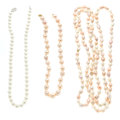 Estate Jewelry:Pearls, Cultured Pearl, Diamond, Gold, White Gold Necklaces. ... (Total: 3 Items)