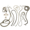 Estate Jewelry:Necklaces, Diamond, Sterling Silver, Gold Necklaces. ... (Total: 7 Items)
