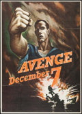 "Movie Posters:War, World War II Propaganda (U.S. Government Printing Office, 1942).Propaganda OWI Poster # 15 (28.5"" X 40"") ""Avenge December 7..."