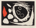 Prints:Contemporary, Alexander Calder (American, 1898-1976). Untitled (Red and BlackShapes on Black), 1961. Etching and aquatint in colors. ...