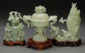 Asian:Chinese, A Group of Three Carved Hardstone and Bowenite Covered Vases andCensor with Stands, late 19th and 20th century. 8-1/2 inche...(Total: 3 Items)