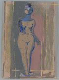 Fine Art - Work on Paper:Print, After Marino Marini (Italian, 1901-1980). Untitled (Standing Female Nude). Lithograph in colors. 14-1/4 x 10-3/4 inches ...