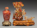 Asian:Chinese, A Chinese Carved Agate Snuff Bottle and Miniature Vase, 20thcentury. 4-1/8 inches high (10.5 cm) (vase without stand). ...(Total: 2 Items)