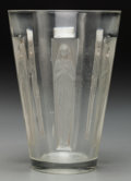 Art Glass:Lalique, An R. Lalique Clear and Frosted Glass Gobelet Six FigurinesVase, circa 1912. Marks: R. Lalique. 7-5/8 inche...