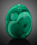 Lapidary Art:Eggs and Spheres, Malachite Egg. Katanga Copper Crescent. Katanga(Shaba). Democratic Republic of Congo (Zaïre). ...